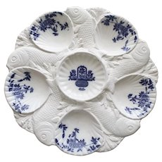 """Antique Minton """"Delft"""" Oyster Plate with Fish Dividing Wells"""