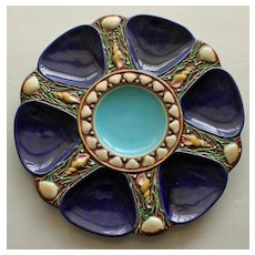 Antique Minton Shell and Seaweed Cobalt Majolica Oyster Plate