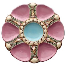 1867 Antique Minton Majolica Rose Oyster Plate,Turquoise Center