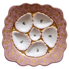 "Antique ""Square"" Marx & Gutherz Oyster Plate, Sunset Pink & White"