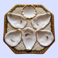 Antique Octagonal Oyster Plate, Brown Border, Gold Netting, Pair Available