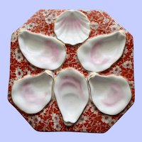 Antique Octagonal Coral Chintz Oyster Plate