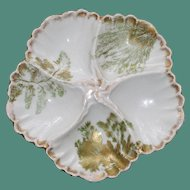 Antique Limoges Oyster Plate Decorated with Ferns