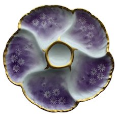 Antique French Charles Field Haviland Limoges Oyster Plate, Distinctive Lavender Color