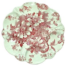 Antique Red Transferware English Oyster Plate, Marguerite Pattern