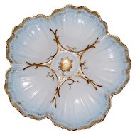 Antique Pale Blue French Oyster Plate by Marcel Redon