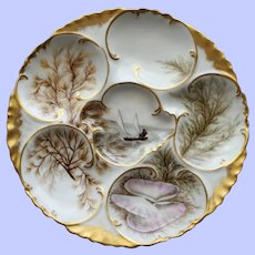Antique Haviland Limoges Oyster Plate, Hand Painted Scenes, Fisherman in Sailboat-Rare
