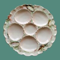 Antique French Haviland Oyster Plate, Hand Decorated, Signed by Artist
