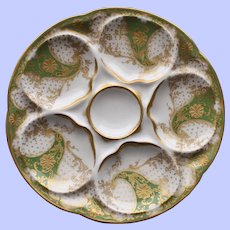 Antique French Theodore Haviland Limoges Oyster Plate, Green & Gilt