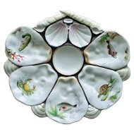 Antique Oyster Plate, Six Wells, Each with Hand Painted Sea Creature