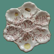 Antique Oyster Plate with Seaweed Decoration
