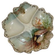 Antique T & V French Oyster Plate with Shells Decoration