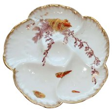 Antique Aesthetic Charles Field Haviland Oyster Plate with Shells and Seaweed 1870-1890