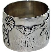 Antique Shiebler Exquisite Sterling Napkin Ring with Birds and Plants