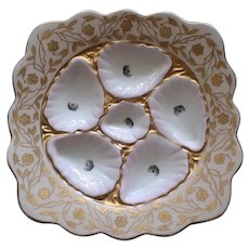 "Antique Pale Pink and Gilt ""Square"" Oyster Plate by Marz & Gutherz, Carksbad"