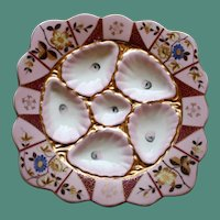 """Antique """"Square"""" Marx & Gutherz Oyster Plate, Vivid Flowers"""