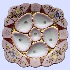 "Antique ""Square"" Enameled Oyster Plate, Marx and Gutherz, Carlsbad"