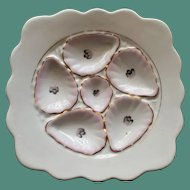 "Antique ""Square"" Marx & Gutherz Oyster Plate, Shell Pink & White"