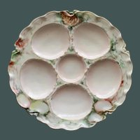 Antique French Haviland Limoges Oyster Plate, Hand Decorated, Signed by Artist
