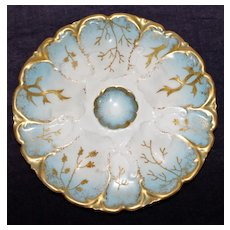 Antique French Limoges Oyster Plate Pale Blue and GIlt Seaweed