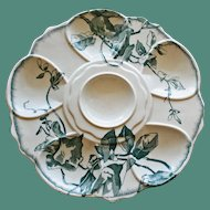 Antique Aesthetic French Transferware Oyster Plate, Asymmetric Teal Leaf Decoration by Jules Vielliard