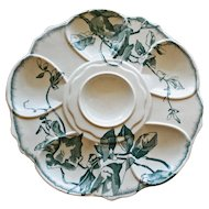 Antique Aesthetic French Oyster Plate, Asymmetric Floral Decoration by Jules Vielliard