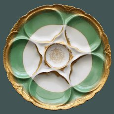 Antique French Theodore Haviland Limoges Oyster Plate. Green & Gilt