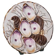 """Antique Oyster Plate with Brown Striped """"Turkey,"""" Pink & Gilt Highlights"""