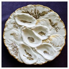 Tiffany & Co. Antique Haviland Limoges Turkey Oyster Plate, Nautical Creatures in Wells