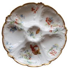 Antique French Limoges Oyster Plate by Gerard, Dufraisseix, Abbot and Sold by Wright, Tyndale, Van Roden