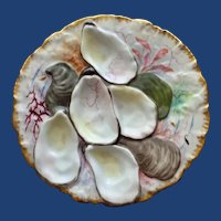 "Antique Haviland  Limoges ""Turkey"" Oyster Plate, Stunning Decoration"