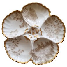 Antique French Limoges Tressemann and Vogt (T&V) Oyster Plate with Ferns