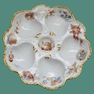 Antique T&V (Tressemann & Vogt) French Oyster Plate, Wells Hand Painted with Sea Life