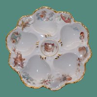 Antique Tressemann and Vogt (T&V) French Limoges  Oyster Plate, Painted Sea Life