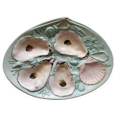 Antique  Robin's  Egg Blue Union Porcelain Works  (UPW)  Oyster Plate