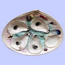 Antique Union Porcelain Works (UPW) Oyster Plate, Turquoise Background, Naturalistic