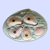 Antique Union Porcelain Works (UPW) Robin's Egg Blue Oyster Plate