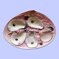 Antique Sunset Pink Clam Shape Union Porcelain Works (UPW) Oyster Plate