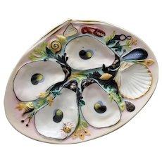 Antique Union Porcelain Works (UPW) Clam Shape Oyster Plate, Vivid Decorations