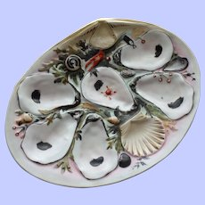Antique Union Porcelain Works (UPW) Oyster Plate, Extensive Nautical Decorations