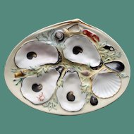 Antique UPW (Union Porcelain Works) Oyster Plate with Nautical Creatures
