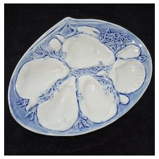 Antique UPW (Union Porcelain Works) Light Blue Oyster Plate