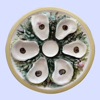 Antique American UPW (Union Porcelain Works) Round Oyster Plate, Nautical Designs