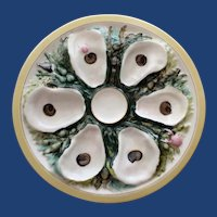 Antique UPW (Union Porcelain Works) Round Oyster Plate, Nautical Designs