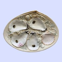 Antique Union Porcelain Works (UPW) Oyster Plate with Shells, Seaweed, and Nautical Creatures