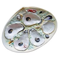 Antique UPW (Union Porcelain Works) Clam Shape Oyster Plate, Nautical Decorations