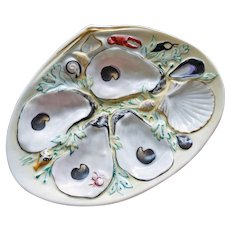 Antique UPW (Union Porcelain Works) Clam Shape Oyster Plate, Nautical Decorations