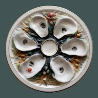 Antique Union Porcelain Works (UPW) Round Oyster Plate, Multicolored Sea Creatures & Seaweed