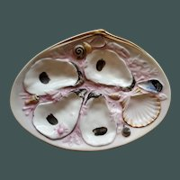 Antique Union Porcelain Works (UPW) Clam Shaped Oyster Plate