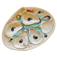 Antique Union Porcelain Works (UPW) Oyster Plate with Turquoise Seaweed, Clam Shape